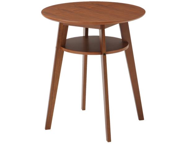 テーブル カフェテーブル 棚付き 60cm丸テーブル ラウンドテーブル 丸テーブル ダイニングテーブル 60cm かわいい ウオールナット突き板 木製 北欧 円形 丸型 1月下旬入荷