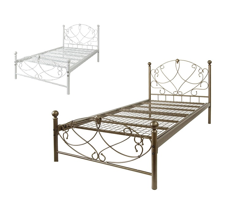 info for b835a 8ae8d White gold iron bed steel bed of bed single frame BSK-906S pipe bed DELSOL  Ceres tear S bed WH/GOLD single bed princess line