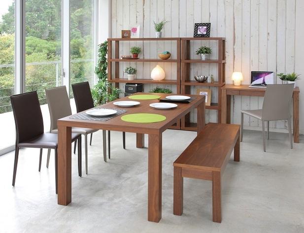 ダイニングテーブルセット 幅180cm ダイニング5点セット 食卓5点セット 6人用 6人掛 奥行85cm ウオールナット 天然木 木製 北欧 カントリー ブラウン