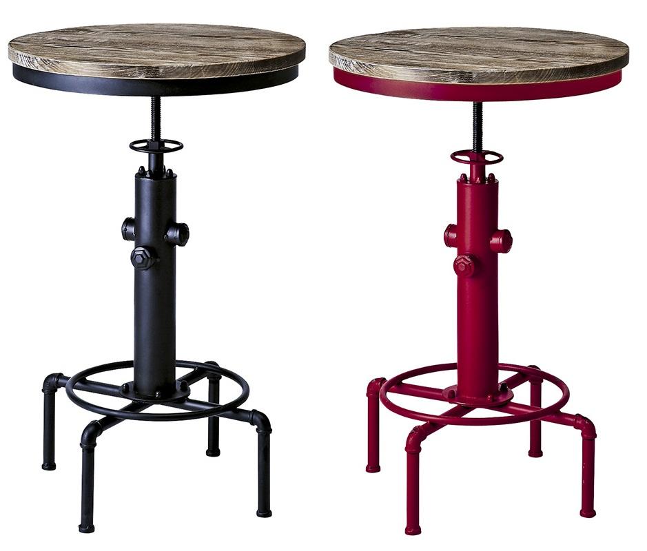 バーテーブル 丸テーブル 幅60c 日時指定 m昇降 木製 インダストリアル カフェテーブル 丸型 円形 爆安プライス 昇降 人気 カウンターテーブル ブラック レッド アイアン 幅60cm おしゃれ