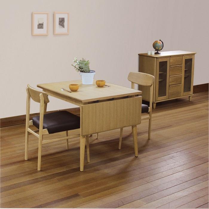 伸張式ダイニングテーブル(テーブルのみ単品)(幅120-90/奥行75/高さ70cm) 天板ナラ突板 テーブル 北欧風デザイン