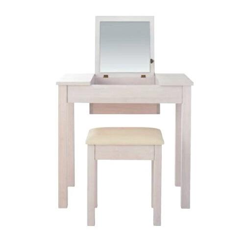 ドレッサー・スツール付き  鏡台 鏡 ミラー テーブル ホワイトウオッシュ 北欧 机