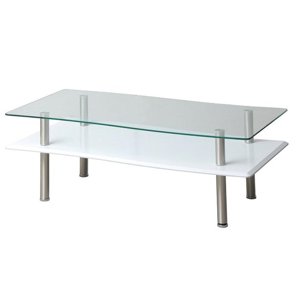 リビングテーブル センターテーブル 幅110 棚付き ローテーブル ガラス モダン シンプル 収納 テーブル おしゃれ 一人暮らし 北欧 ホワイト