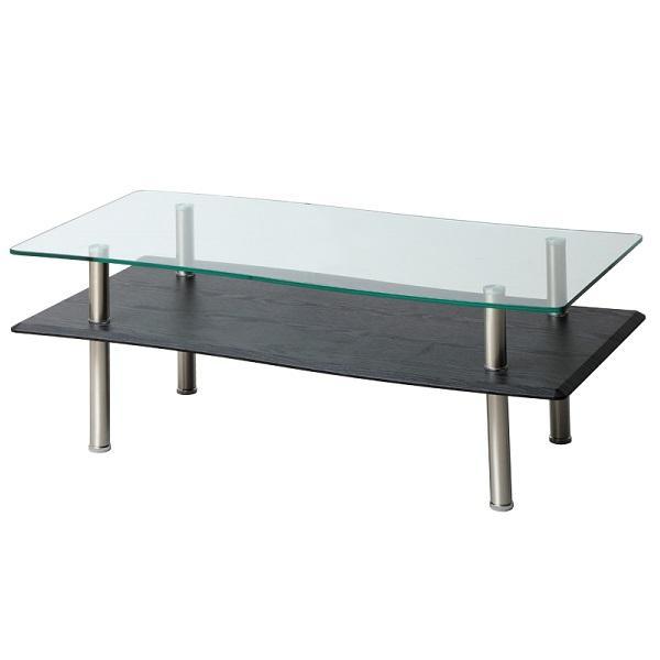 リビングテーブル センターテーブル 幅110 棚付き ローテーブル ガラス モダン シンプル 収納 テーブル おしゃれ 一人暮らし 北欧 ブラック