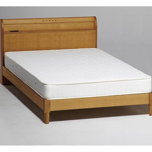 ベッド セミダブル フレームのみ ベッドフレーム タモ材 木製ベッド ナチュラル 棚つき コンセント付き マット別売り