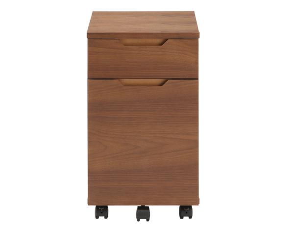 ウォルナットの気品ある木目、シンプルデザインでスタイリッシュ。本格木製サイドチェスト。デスクワゴン ワゴン
