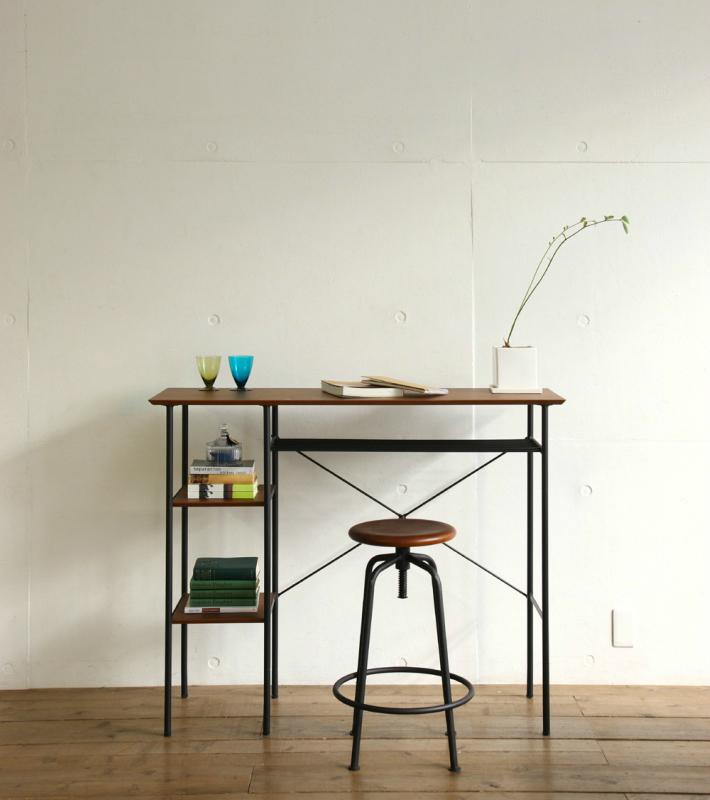 カウンターテーブル 幅120 サイドテーブル デスク リビングテーブル 北欧風 おしゃれ ウォールナット ヴィンテージ レトロ 送料無料
