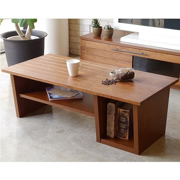 リビングテーブル センターテーブル ローテーブル 幅110cm 木製 棚付き 収納付き 北欧 おしゃれ 人気