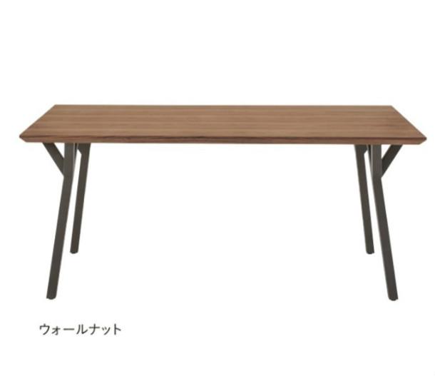 ダイニングテーブル テーブル 食卓テーブル 幅160 木製 ウォールナット おしゃれ モダン スチール 黒脚 北欧 デザインテーブル