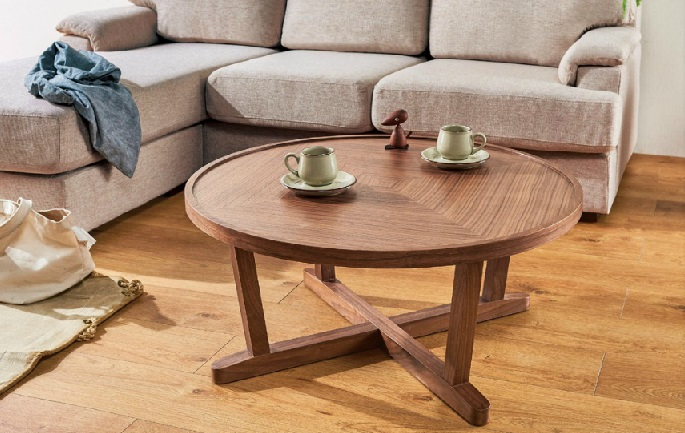 リビングテーブル 80cm 丸 センターテーブル シンプル ウォールナット・ テーブル コーヒーテーブル 北欧 モダン おしゃれ