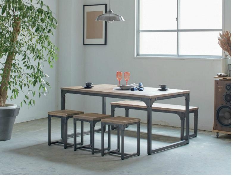 ダイニングテーブルセット ダイニングセット5点セット シンプル食卓5点セット 150cm 北欧 いす チェアーベンチ チーク材 北欧 ヴィンテイジ スチール