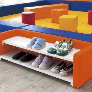 キッズシューズボックス 2段 業務用 施設用 受注生産 シューズボックス 靴収納 レザー