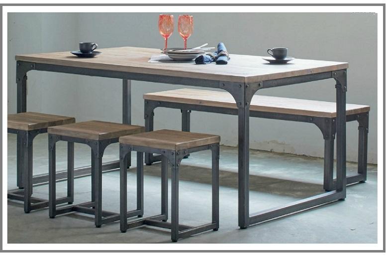 【公式】 ダイニングテーブルセット 5点セット 6人掛け 西海岸 6人掛け インダストリアル ヴィンテージ風 男前 西海岸 ベンチx1 おしゃれ カフェ テーブル 幅150cmサイズ チーク材 スチール脚 デザインテーブルテーブル150×1 スツール×3 ベンチx1 ダイニングテーブルセット, 入善町:6cc9a93e --- canoncity.azurewebsites.net