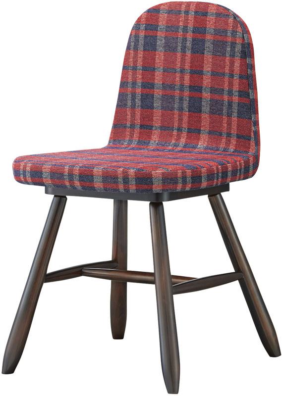 ウッドチェア マール ダイニングチェア チェック柄 イス 業務用 布 肘無チェア 業務用木製椅子 ブラウン色(送料無料:北海道・東北・沖縄・離島に関しては、別途送料となります。)