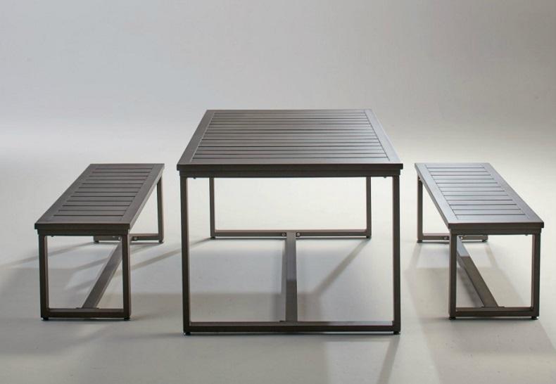 ダイニングテーブルセット ダイニング3点セット ベンチ2脚 会議用 事務所用 屋外対応のガーデンテーブル