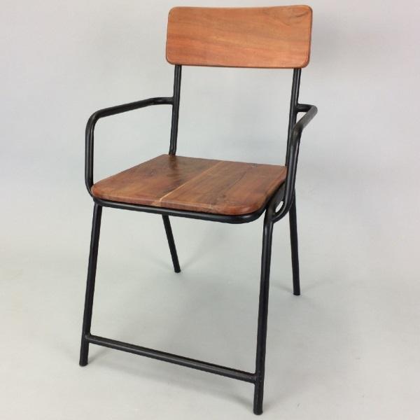 チェア 2脚セット ダイニングチェア アイアン&ウッド おしゃれ 男前 肘付 木製 イス 椅子(テーブル別売り)