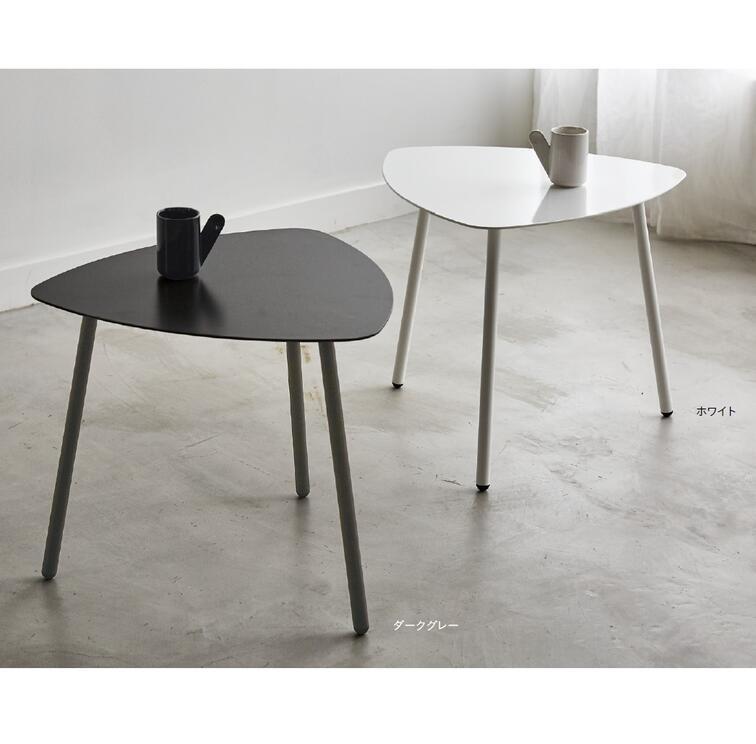 リビングテーブル おしゃれ 幅45.5 奥行45 高さ40cm スチール シンプル シャープ モダン かっこいい 男前 デザインテーブル ホワイト ダークグレー