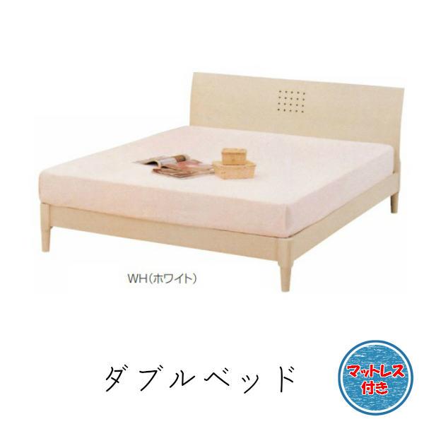 ベッド ダブルベッド マット付き【ヴィッツ】木目の見えるホワイト マット付 ベッド ダブルベッドフレーム ダブルマットレス すのこベッドダブル 幅140×長さ205×高さ80(すのこ面高さ26.5)cm