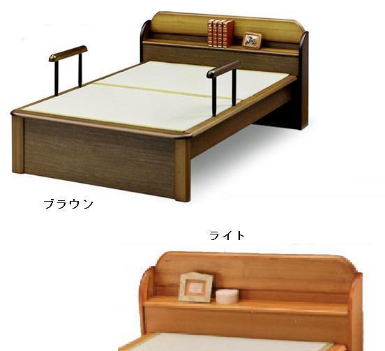 【今すぐ使える割引クーポン発行中】畳ベッド セミダブルサイズ 手すり2本付き 棚付き 宮付き
