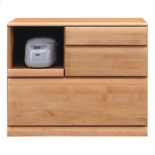 日本製 キッチンカウンター100 モイス付き  ナチュラル アルダー材