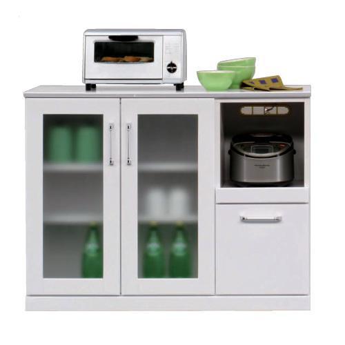 レンジ台 食器棚 ミニ食器 カウンター キッチンカウンター ホワイト 105cm幅 ミドルタイプ キッチン収納 収納 レンジ台 レンジ