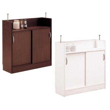 【完成品】カウンター下収納 キッチンカウンター下収納 引戸 90cmタイプ ホワイト・ダークブラウン 薄型 スリム 収納家具