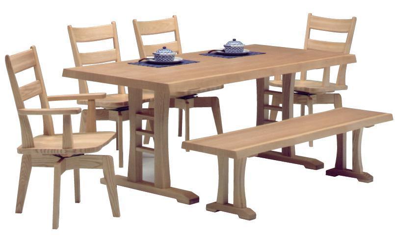 ベンチ付きダイニング6点セット ダイニングテーブルセット ベンチタイプ 木製 タモ材 (ダイニングテーブル×1 肘付きチェア×2 肘なしチェア×2 ベンチ×1)