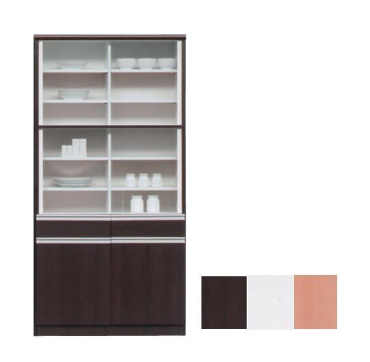 【日本製】食器棚90cm ダイニングボード キッチンボード 90cm幅 完成品 ハイタイプ食器棚 食器棚  ホワイト・ナチュラル・ブラウン