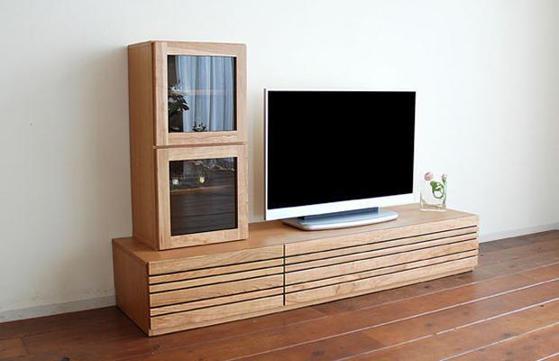 テレビ台 テレビボード ローボード 幅210cm 国産チェリー ルーバー テレビボード210(テレビボードのみ、ボックスは別売りです)(開梱設置サービス付き)