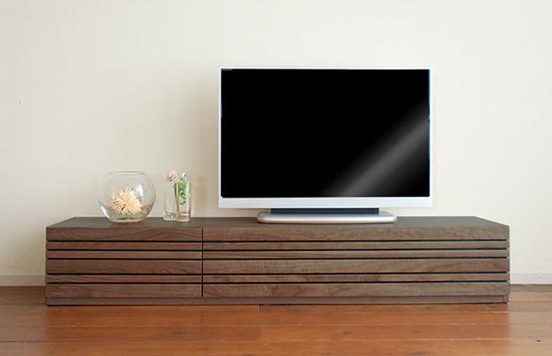テレビボード テレビ台 ローボード 幅210cm 完成品 ウォールナット 国産 木製 ルーバー(開梱設置付)(ボックスは別売りです。)