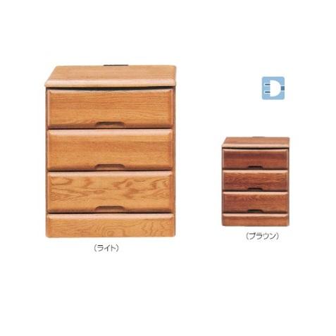 幅40cm ナイトテーブル ナイトチェスト 木製/アルダー材 コンセント付き /