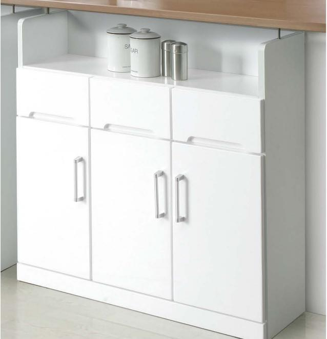 カウンター下収納 キッチンカウンター下収納 3枚扉 90cmタイプ ホワイト