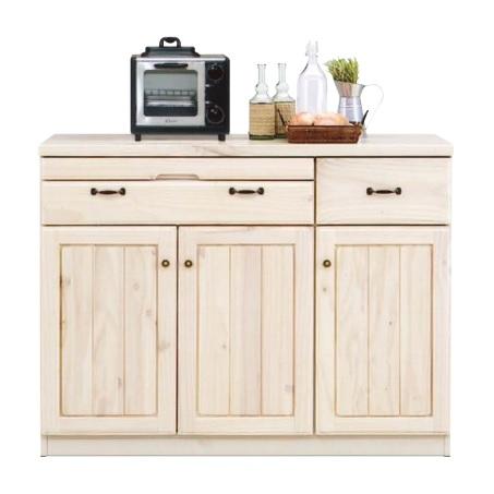 キッチンカウンター 幅114cm レンジ台 レンジ収納 レンジボード 作業台 食器棚 収納 収納家具 完成品 カントリーテイスト かわいい ナチュラル