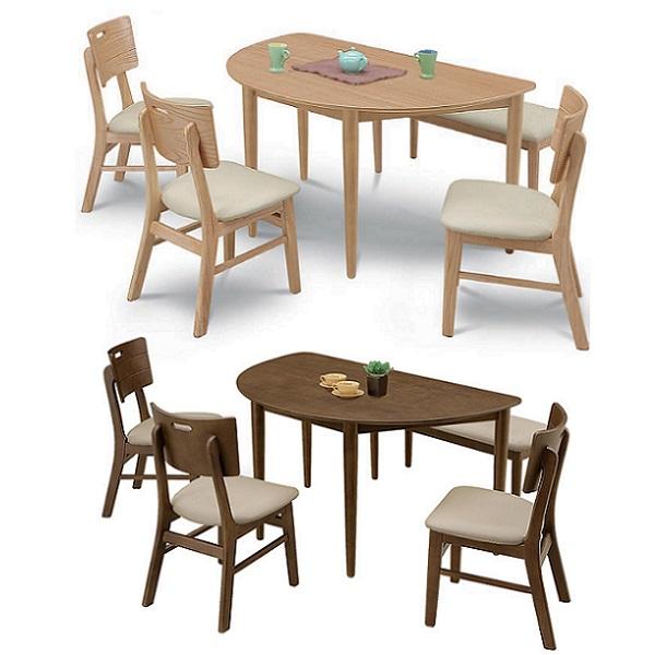 半円ダイニング5点セット オルガ ダイニングテーブルセット 変形 130cm幅 ダイニングテーブル ベンチ付き 木製 おしゃれ