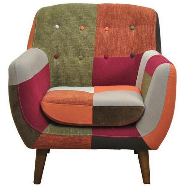 ソファ 1Pソファ 1人掛けソファ 1人用 ヨランダ パッチワーク 布張り おしゃれ 北欧 椅子 チェア