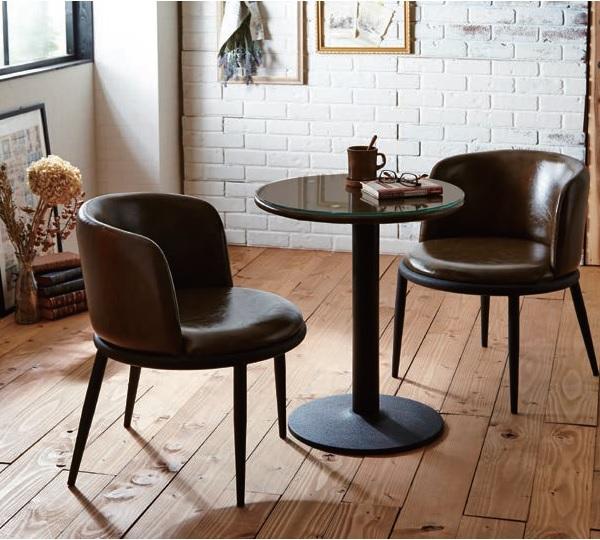 ダイニング3点セット 2人掛け 2人用 円形テーブル カフェテーブル カフェチェア ブラウン・マルチブルー・グリーン おしゃれ ヴィンテージ風 カフェ風 ミッドタウン