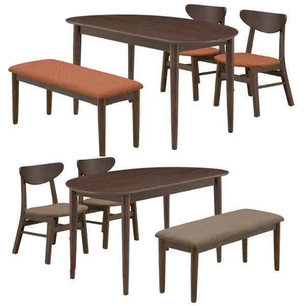 ダイニングテーブル ダイニング4点セット ブラン 半円テーブル型 ダイニングテーブルセット ベンチチェア ダイニングテーブル 食卓4点セット 4人用 4人掛 オーク無垢材 木製 北欧 カントリー カジュアル おしゃれ ブラウン