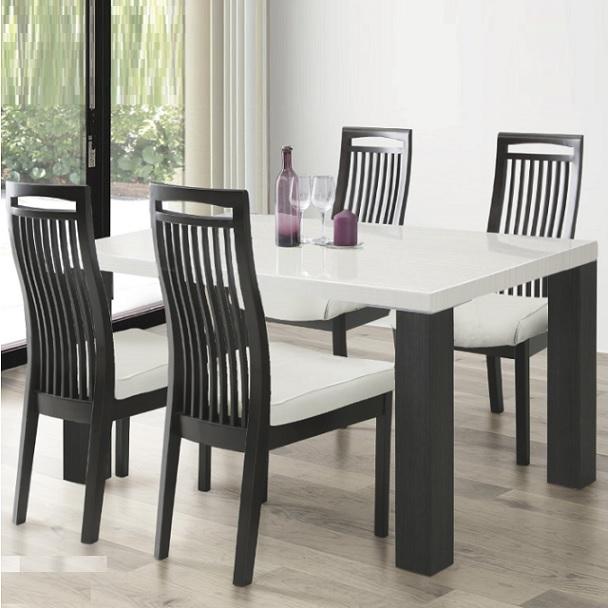 ダイニングテーブルセット 4人掛け 幅135cm ダイニング5点セット ダイニング5点 光沢 4人用 幅135cm テーブル 食卓セット テーブル チェア 木目調 ホワイト 白 おしゃれ