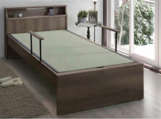 畳ベッド シングル たたみベッド 畳 宮付き LEDライト付き 手すり付き ベッド シングルベッド ベッドフレーム 木製 手すり付 介護 高齢者
