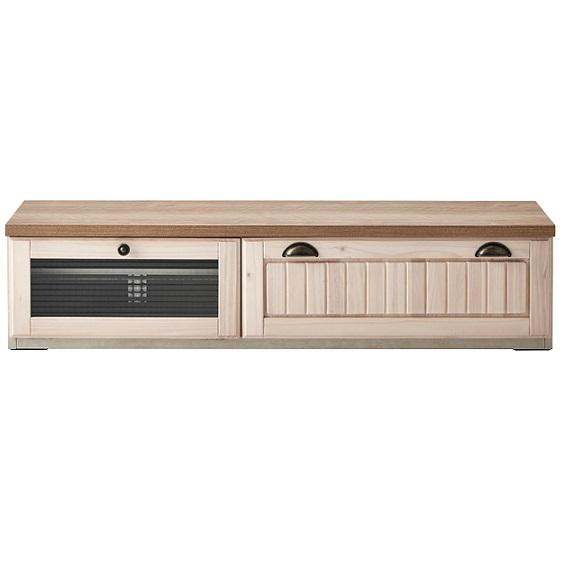 テレビボード ローボード 幅140 木製 カントリー調 かわいい フレンチ ピンクホワイト パイン ビエラ