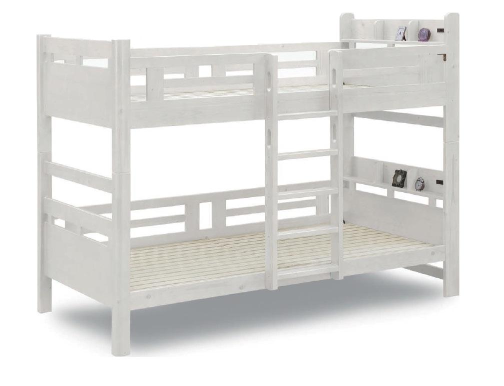 二段ベッド 2段ベッド ベッド 木製 はしご付き 宮付き 2口コンセント付き ホワイト木目 子供部屋収納 おしゃれ 人気