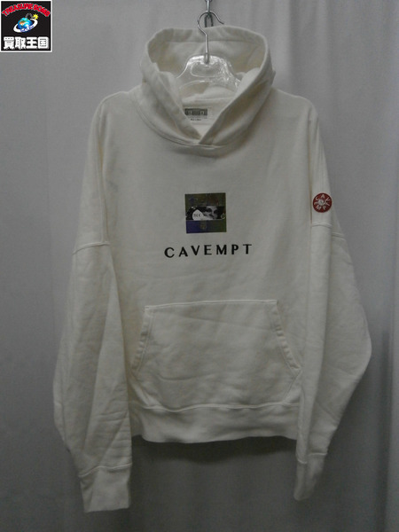 C.E CAVEMPT EMBROIDERY HEAVY HOODY L 白【中古】[値下]