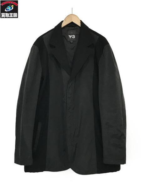 Y-3 ウール ナイロン 切替 ジップ ジャケット(XL)黒【中古】