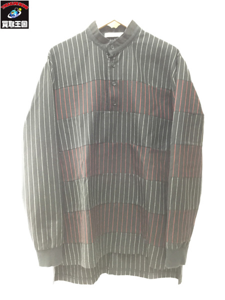 GIVENCHY バンドカラー ウールプルオーバーシャツ ストライプ SizeXS【中古】