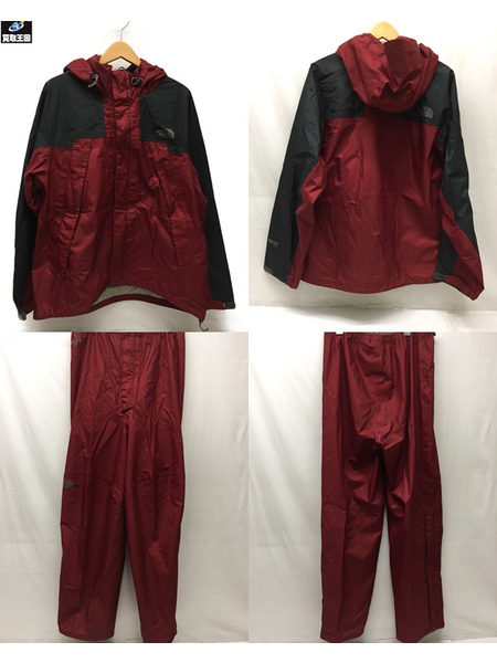 THE NORTH FACE GOREーTEX RAINTEX FLIGHT セットアップ RED【中古】