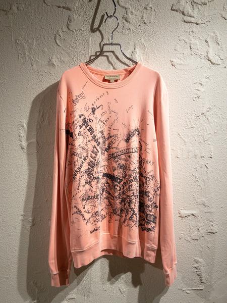 BURBERRY/Doodle Print Cotton Sweatshirt/S/ピンク【中古】