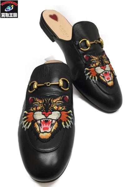 GUCCI プリンスタウン ホースビット レザー サンダル アングリーキャット 481180 Size38 グッチ スリッパ Angry Cat 怒っている 猫 【中古】