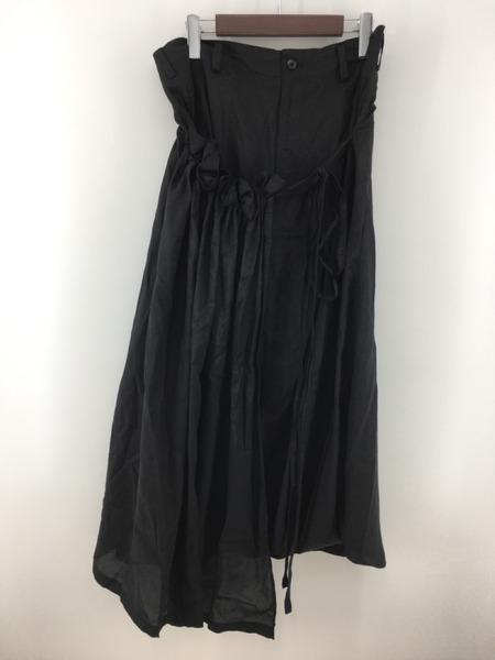 Yohji Yamamoto ヨウジヤマモト BLACK DROPPED CLOTH SKIRT ラップデザインスカート 黒 1【中古】[▼]