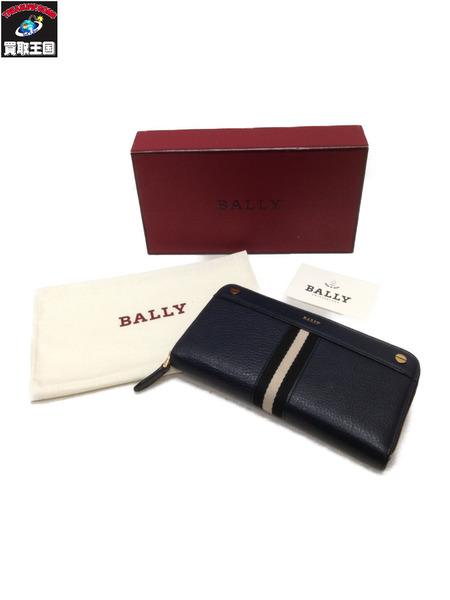 BALLY ラウンドファスナー財布 ネイビー【中古】