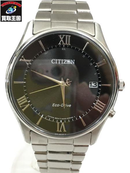 CITIZEN シチズン H415-S112907 エコドライブ 電波ソーラー 腕時計 文字盤黒×シルバーベルト【中古】